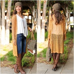 Infinity Raine Sweaters - Mustard Knit Duster Cardigan
